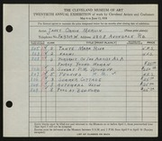 Entry card for Merlin, Janet Orkin for the 1938 May Show.