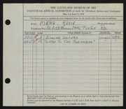 Entry card for Merz, Elsie for the 1938 May Show.