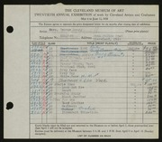 Entry card for Merz, George Henry for the 1938 May Show.