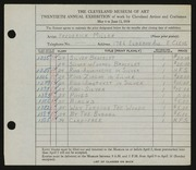 Entry card for Miller, Frederick Anson for the 1938 May Show.