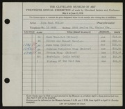 Entry card for Miller, John Paul for the 1938 May Show.