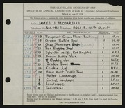 Entry card for Modarelli, James J. for the 1938 May Show.