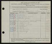 Entry card for Morris, Louise for the 1938 May Show.