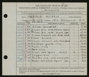 Entry card for Morris, Virginia for the 1938 May Show.