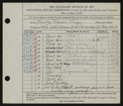 Entry card for Mosgo, Charles Francis for the 1938 May Show.