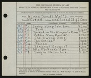 Entry card for Motts, Alicia Sundt for the 1938 May Show.