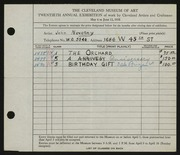 Entry card for Novotny, John for the 1938 May Show.