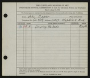 Entry card for Opper, John for the 1938 May Show.