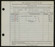 Entry card for O'Sickey, Joseph B. for the 1938 May Show.
