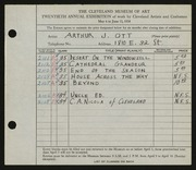 Entry card for Ott, Arthur J. for the 1938 May Show.