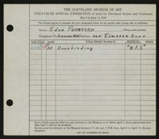 Entry card for Patterson, Edna for the 1938 May Show.