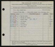 Entry card for Peck, James Edward for the 1938 May Show.