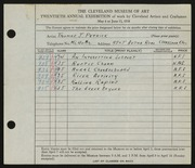 Entry card for Petrick, Thomas J. for the 1938 May Show.