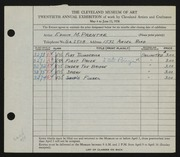 Entry card for Prentke, Edwin M. for the 1938 May Show.