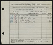 Entry card for Prusheck, Harvey Gregory for the 1938 May Show.