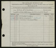 Entry card for Puskas, John F. for the 1938 May Show.