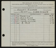 Entry card for Rebman, Herbert for the 1938 May Show.