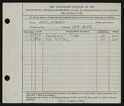 Entry card for Reid, Howard for the 1938 May Show.