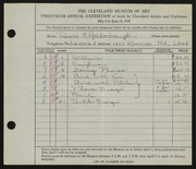 Entry card for Reidenbaugh, Frances for the 1938 May Show.