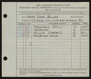 Entry card for Remley, Mary Dirks for the 1938 May Show.