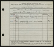 Entry card for Rose, Melvin for the 1938 May Show.