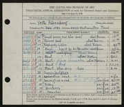 Entry card for Rosenberg, Yetta for the 1938 May Show.