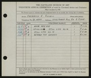 Entry card for Russell, Frederick K. for the 1938 May Show.