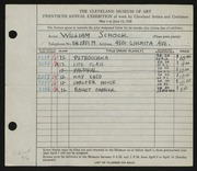 Entry card for Schock, William for the 1938 May Show.