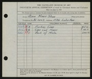 Entry card for Shaw, Glenn M. for the 1938 May Show.