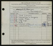 Entry card for Silberger, Manuel G. for the 1938 May Show.