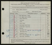 Entry card for Sills, Esther Marshall for the 1938 May Show.