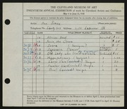 Entry card for Simon, Ann for the 1938 May Show.