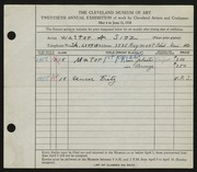 Entry card for Sinz, Walter A. for the 1938 May Show.