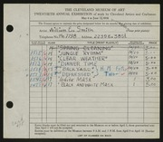 Entry card for Smith, William E. for the 1938 May Show.