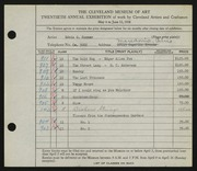 Entry card for Sommer, Edwin G. for the 1938 May Show.