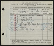 Entry card for Sommer, William for the 1938 May Show.