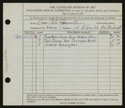 Entry card for Sponseller, Ona Cole for the 1938 May Show.
