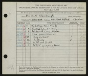 Entry card for Stambaugh, Elizabeth for the 1938 May Show.