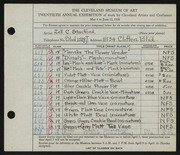 Entry card for Stanford, Zell C. for the 1938 May Show.