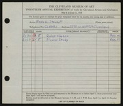 Entry card for Stewart, Neale H. for the 1938 May Show.