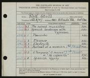 Entry card for Stoll, Rolf for the 1938 May Show.