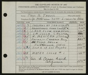 Entry card for Travis, Paul Bough for the 1938 May Show.