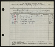 Entry card for Tupper, Jack for the 1938 May Show.