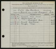 Entry card for Van Buskirk, Ruth for the 1938 May Show.