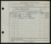 Entry card for Van Duzer, William A. for the 1938 May Show.