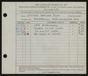 Entry card for Vander Sluis, George for the 1938 May Show.