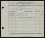 Entry card for Vollman, Fred Anthony for the 1938 May Show.