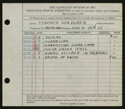 Entry card for Duren, Terence R. for the 1938 May Show.