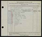 Entry card for Wagner, Elberta M. for the 1938 May Show.