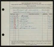 Entry card for Weinberg, Sidney E. for the 1938 May Show.